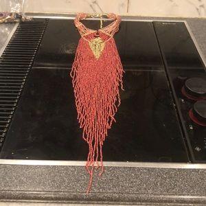 Mango seed bead draped necklace